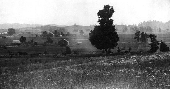 View of the battlefield from the northwest showing Columbia Pike crossing Winstead Hill and descending into the Harpeth River Valley.