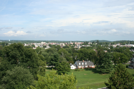 View from the recently opened cupola of the Lutheran Theological Seminary building on Seminary Ridge looking east to downtown Gettysburg. The building now houses the 20,000 sq. ft. Seminary Ridge Museum, a fee attraction. The cupola was used as an observation post by Union cavalry general John Buford
