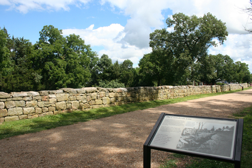 The Sunken Road and Stone Wall at Fredericksburg, Virginia.