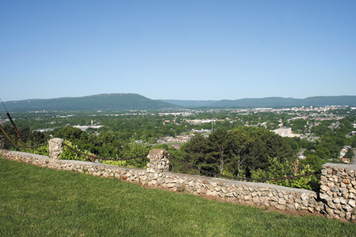 View from Confederate-held Missionary Ridge looking over Chattanooga, Tenn., toward Lookout Mountain.