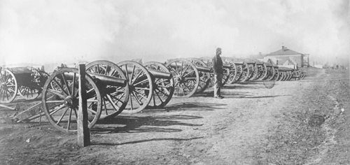 It was reported that 42 pieces of artillery were captured by Union forces at Missionary Ridge. Pictured here is a portion of them under guard.