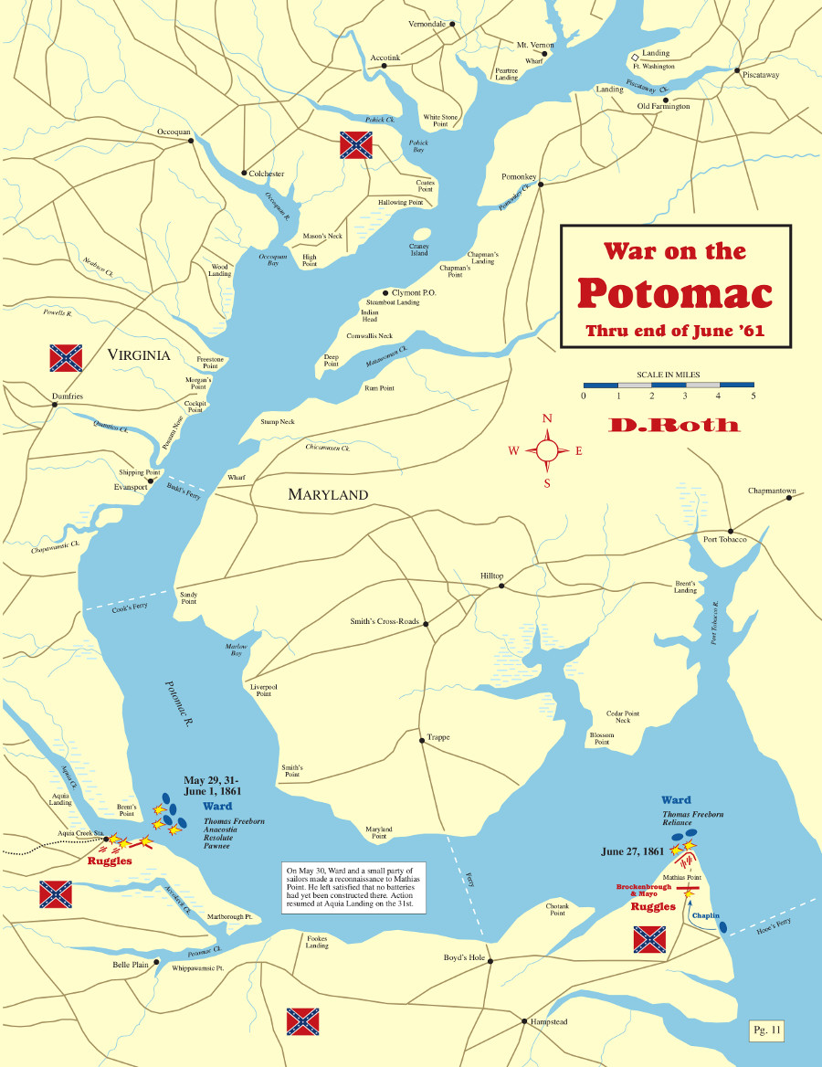 The Confederate Blockade of the Potomac River • May '61 ...Potomac River Map With States